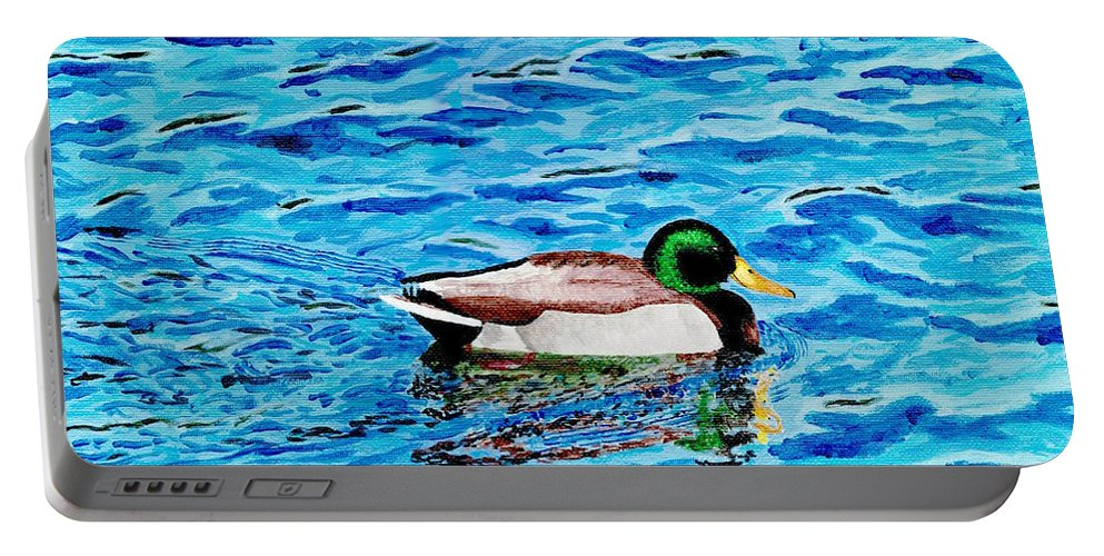 Mallard On Water Portable Battery Charger featuring the painting Mallard On Water by DSC Arts