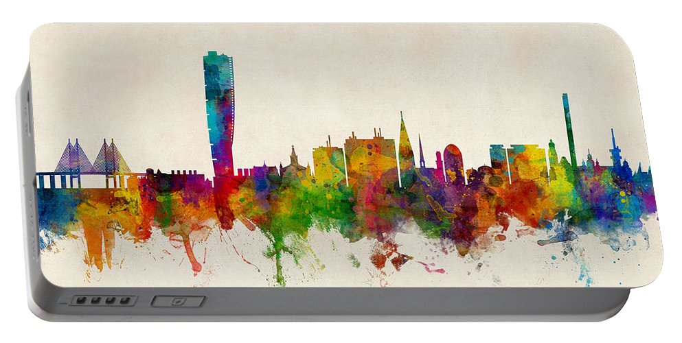 Sweden Portable Battery Charger featuring the digital art Malmo Sweden Skyline by Michael Tompsett