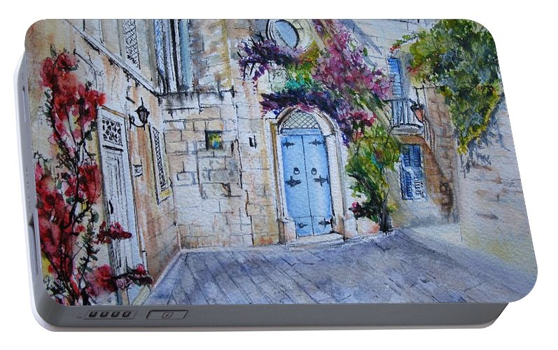 Red Portable Battery Charger featuring the painting Malta Courtyard by Lisa Cini