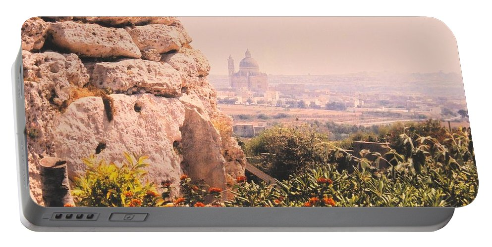 Malta Portable Battery Charger featuring the photograph Malta Wall by Ian MacDonald
