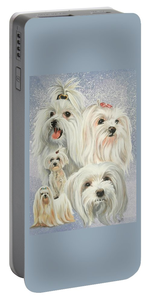 Dog Portable Battery Charger featuring the painting Maltese Collage by Barbara Keith