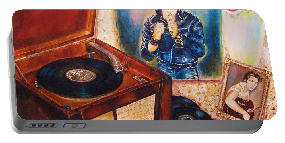 Elvis Portable Battery Charger featuring the painting Mama Loved The Roses by Carole Spandau