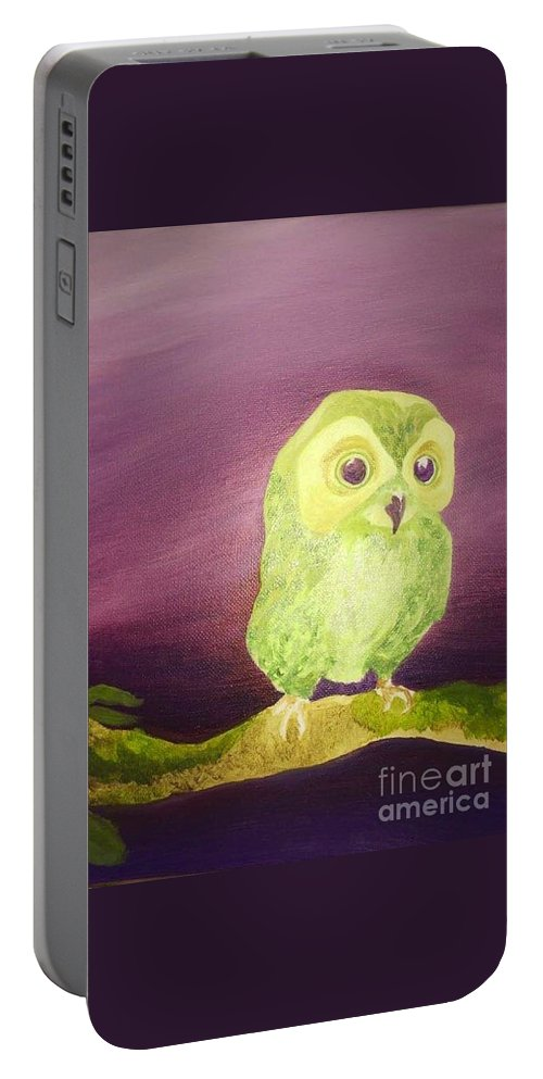 Green Owl Portable Battery Charger featuring the painting Mama by Lucerito Gonzalez