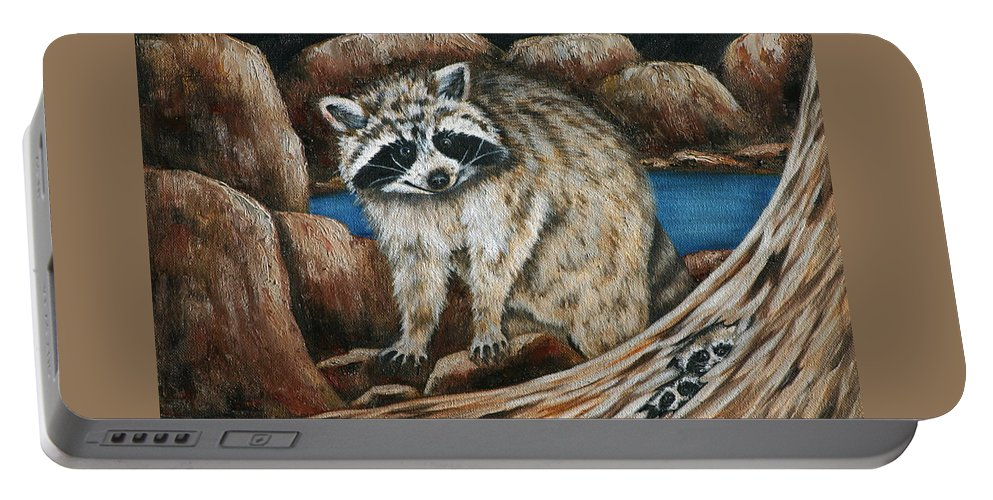 Racoon Portable Battery Charger featuring the painting Mama Racoon by Ruth Bares