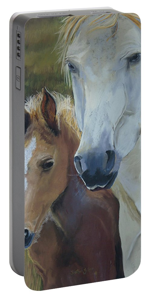 Horses Portable Battery Charger featuring the painting Mama's Boy by Heather Coen