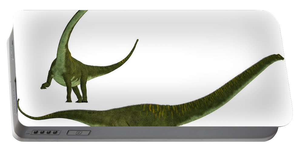Mamenchisaurus Hochuanensis Portable Battery Charger featuring the painting Mamenchisaurus Hochuanensis by Corey Ford