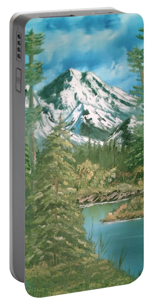 Mammoth Mountain Portable Battery Charger featuring the painting Mammoth Mountain by Jim Saltis