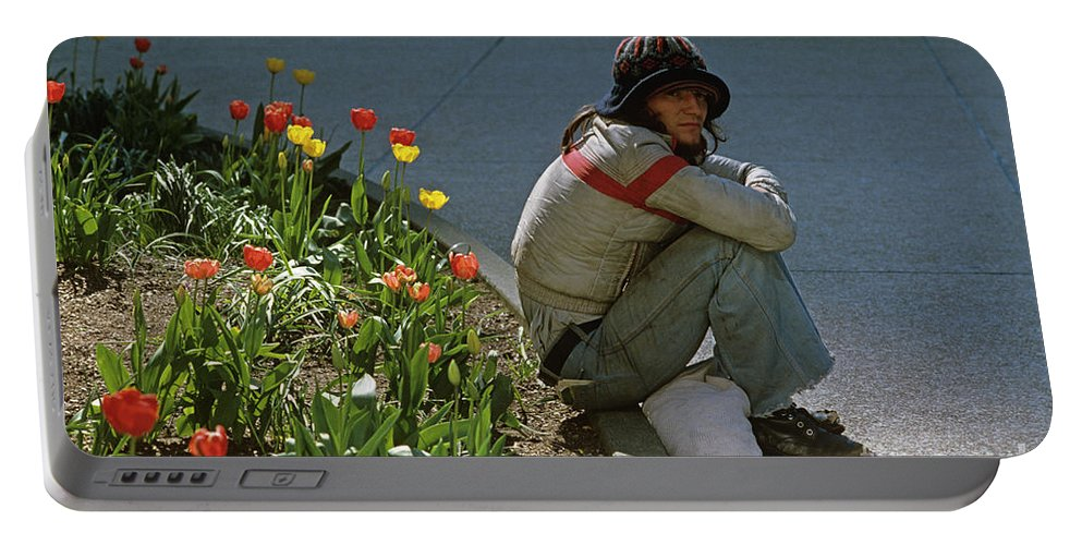 Man Portable Battery Charger featuring the photograph Man Alone Sitting On Curb by Jim Corwin