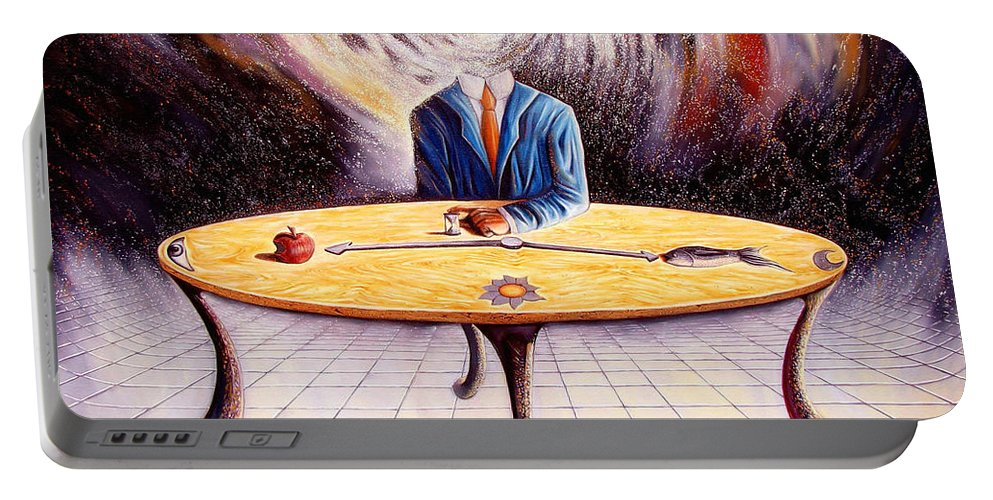 Surrealism Portable Battery Charger featuring the painting Man Attempting To Comprehend His Place In The Universe by Darwin Leon