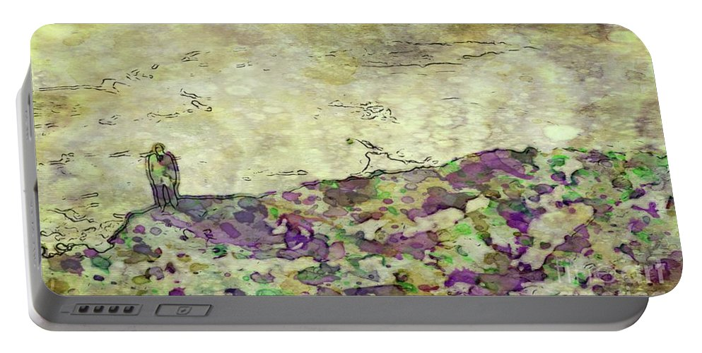 Man Portable Battery Charger featuring the painting Man In The Lansdscape By Mary Bassett by Mary Bassett