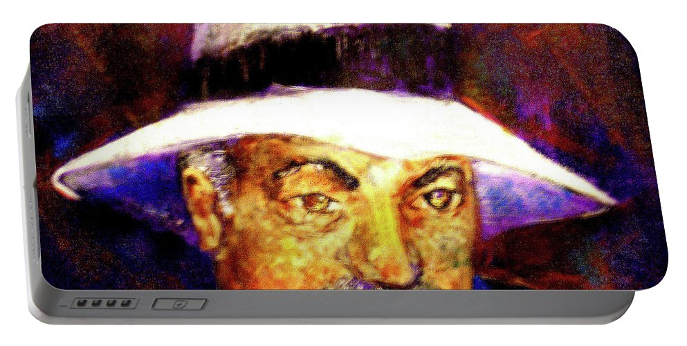 Man In The Panama Hat Portable Battery Charger featuring the painting Man in the Panama Hat by Seth Weaver
