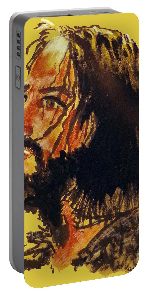 Man Of Sorrows Portable Battery Charger featuring the painting Man of Sorrows by Seth Weaver