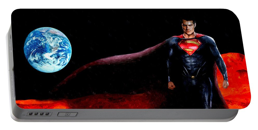 Man Of Steel Portable Battery Charger featuring the mixed media Man Of Steel by Daniel Janda