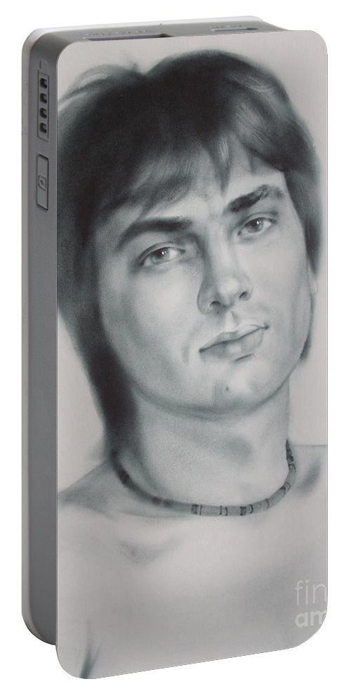 Art Portable Battery Charger featuring the drawing Man by Sergey Ignatenko