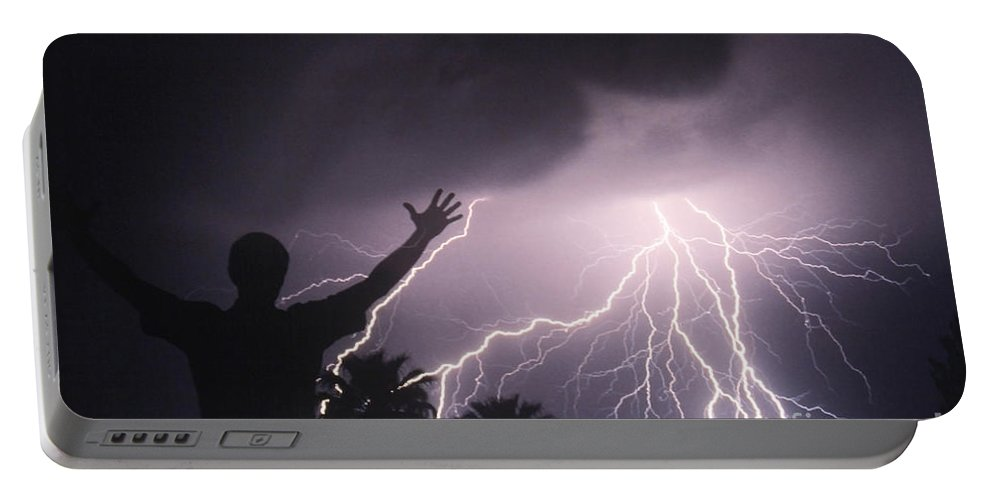 Lightning Portable Battery Charger featuring the photograph Man With Lightning, Arizona by Kent Wood