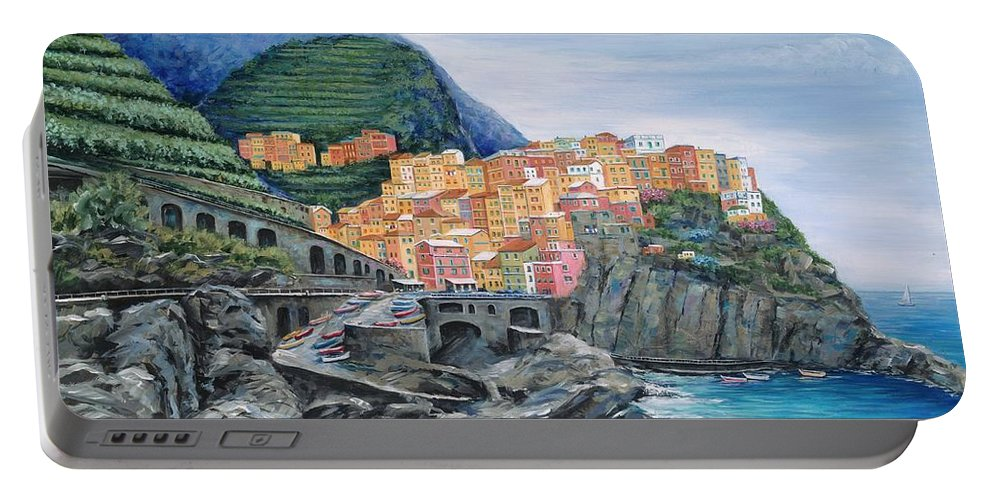 Europe Portable Battery Charger featuring the painting Manarola Cinque Terre Italy by Marilyn Dunlap