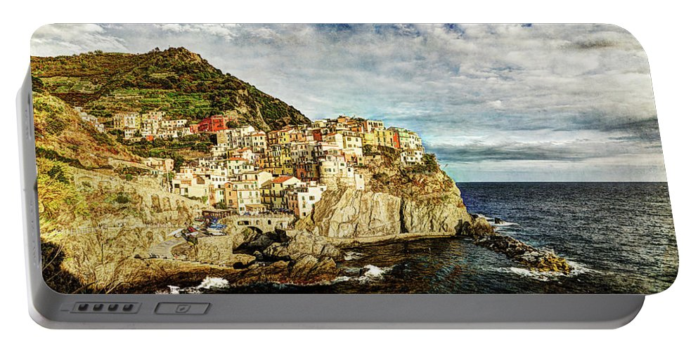 Manarola Portable Battery Charger featuring the photograph Manarola In The Sun - Vintage Version by Weston Westmoreland