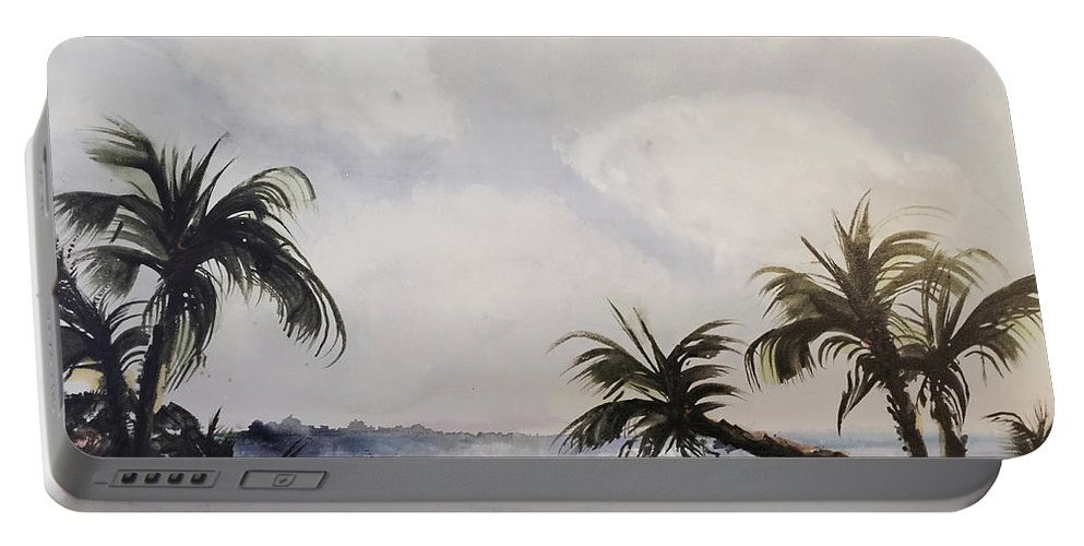 Seascape Portable Battery Charger featuring the painting Manatee Skies by Barbara Colangelo