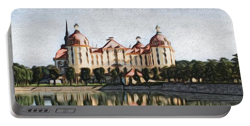 Castle Portable Battery Charger featuring the painting Mancion - Id 16217-202746-3384 by S Lurk