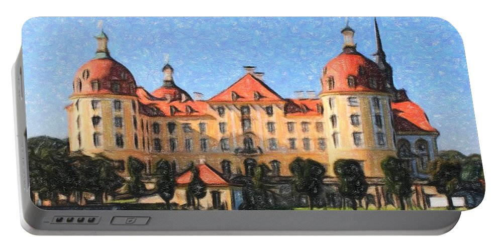 Castle Portable Battery Charger featuring the painting Mancion - Id 16217-202800-9790 by S Lurk