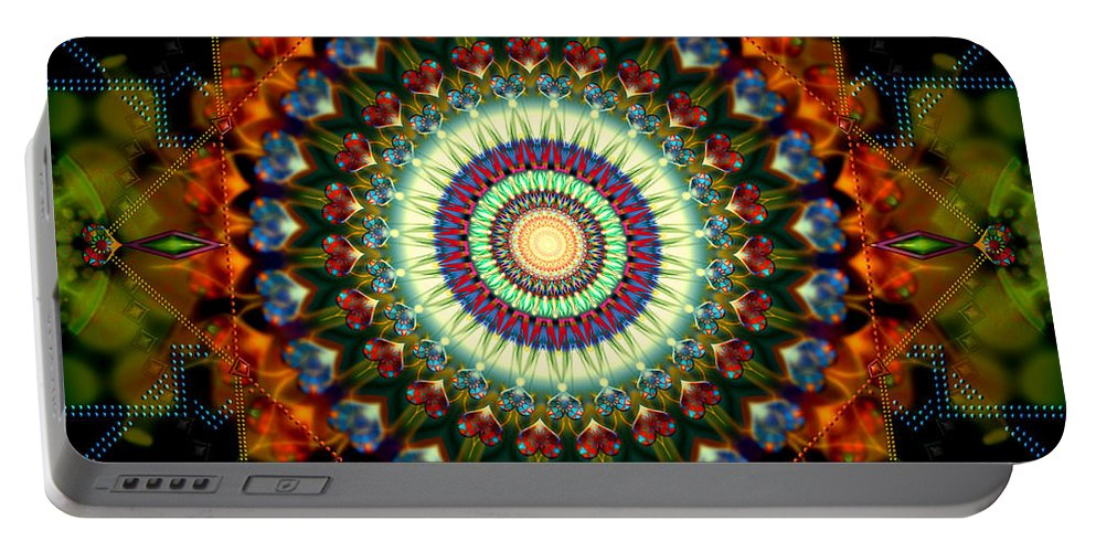 Mandala Portable Battery Charger featuring the digital art Mandala Of Loves Journey by Stephen Lucas