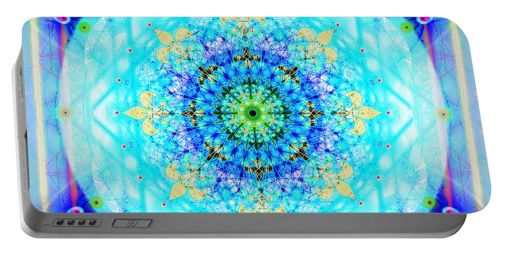 Mandala Portable Battery Charger featuring the digital art Mandala Of Womans Spiritual Genesis by Stephen Lucas