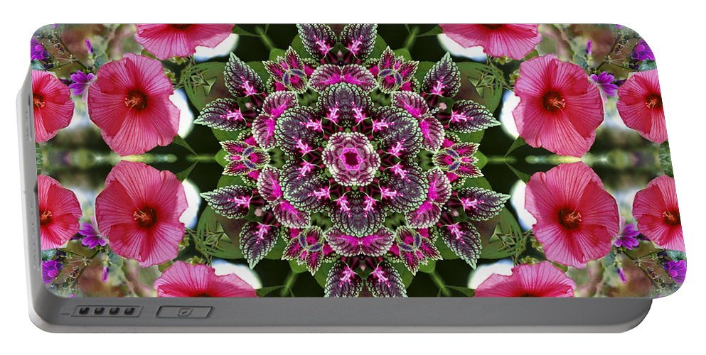 Mandala Portable Battery Charger featuring the digital art Mandala Pink Patron by Nancy Griswold
