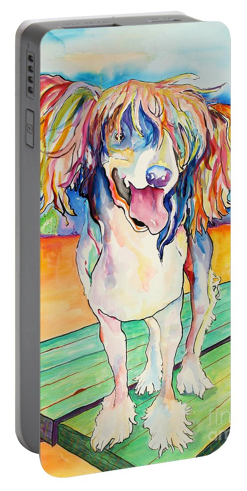 Chinese Crested Portable Battery Charger featuring the painting Mango Salsa by Pat Saunders-White