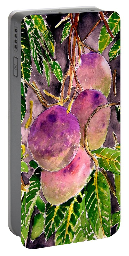Mango Portable Battery Charger featuring the painting Mango Tree Fruit by Derek Mccrea