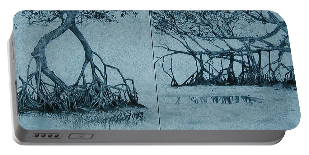 Blue Portable Battery Charger featuring the painting Mangroves by Leah Tomaino