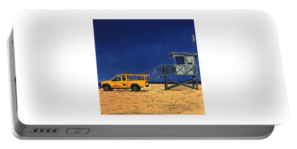 Modern Portable Battery Charger featuring the painting Manhattan Beach Lifeguard Station Side by Lance Headlee