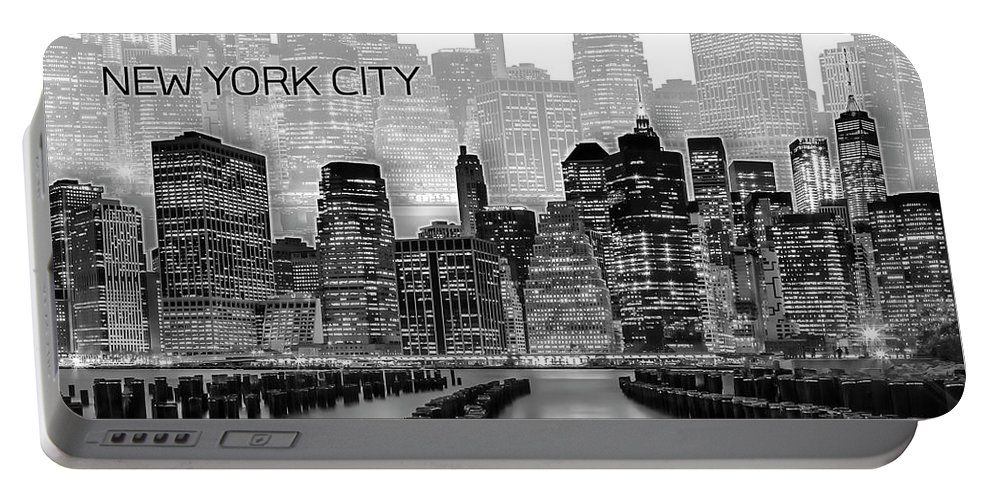 New York Portable Battery Charger featuring the digital art Manhattan Skyline - Graphic Art - White by Melanie Viola