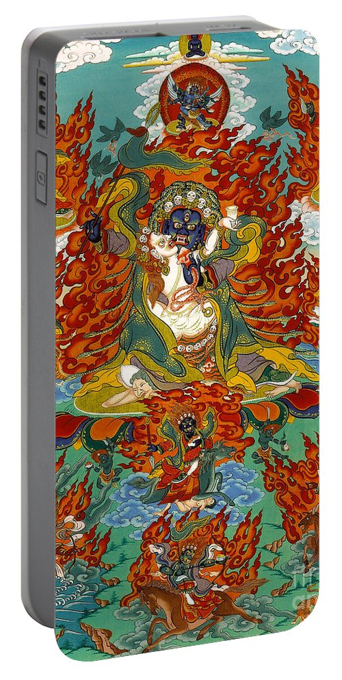 Thangka Portable Battery Charger featuring the painting Maning Mahakala With Retinue by Sergey Noskov