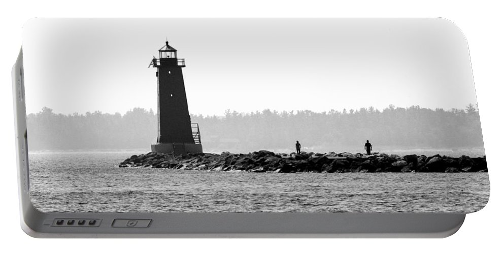 Lighthouse Portable Battery Charger featuring the photograph Manistique's Eyes by Stephen Schwiesow