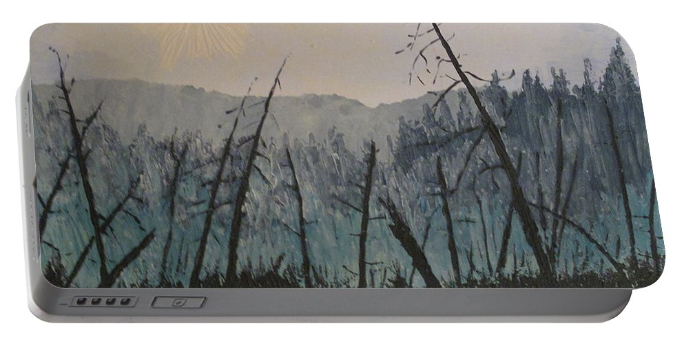 Northern Ontario Portable Battery Charger featuring the painting Manitoulin Beaver Meadow by Ian MacDonald