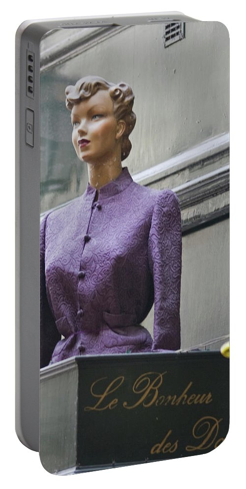 Paris Portable Battery Charger featuring the photograph Mannequin In The Passage by Sam Gish