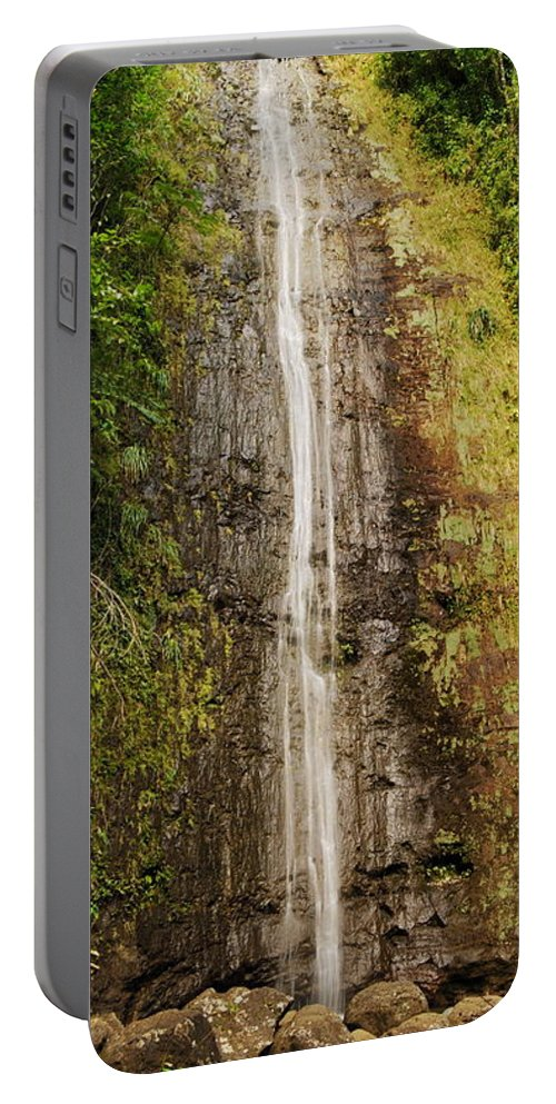 Manoa Portable Battery Charger featuring the photograph Manoa Falls by Michael Peychich