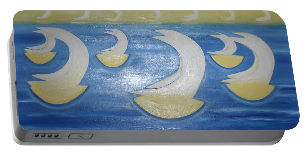 Sailing Boat Portable Battery Charger featuring the painting Many Sailing Boats On The Sea by BERANIC Lovro