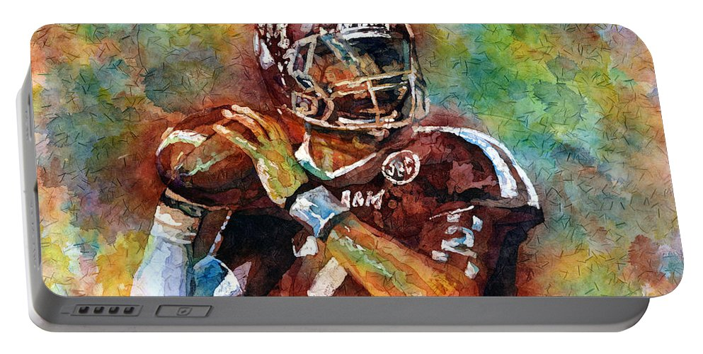 Manziel Portable Battery Charger featuring the painting Manziel by Hailey E Herrera