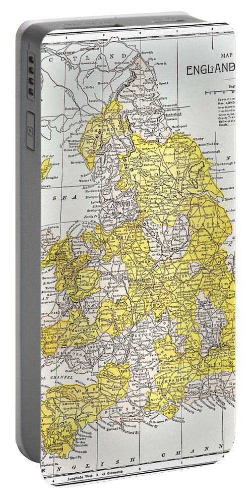 19th Century Portable Battery Charger featuring the photograph Map: England & Wales by Granger