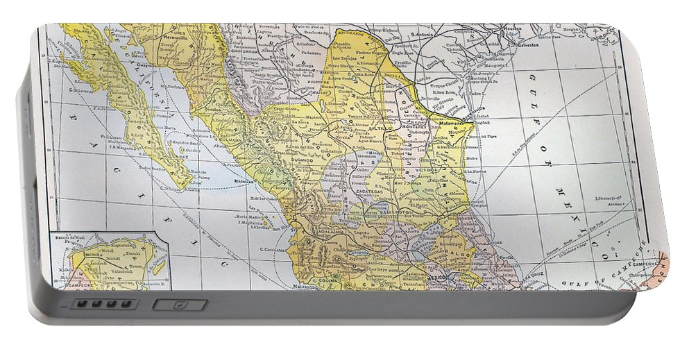 1900 Portable Battery Charger featuring the photograph Map: Mexico by Granger