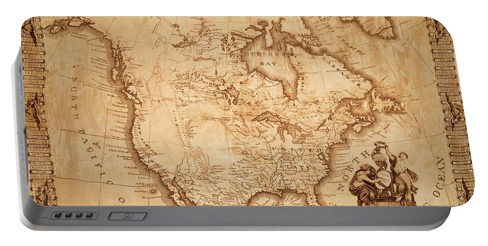 Map Of America Portable Battery Charger featuring the photograph Map Of America 1800 by Andrew Fare