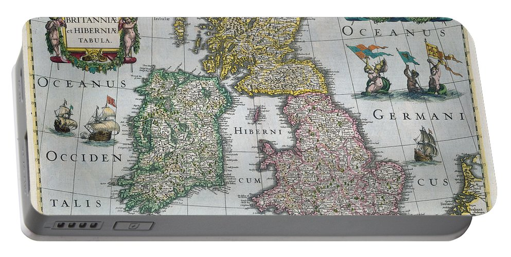 Map Portable Battery Charger featuring the drawing Map Of Britain by English school