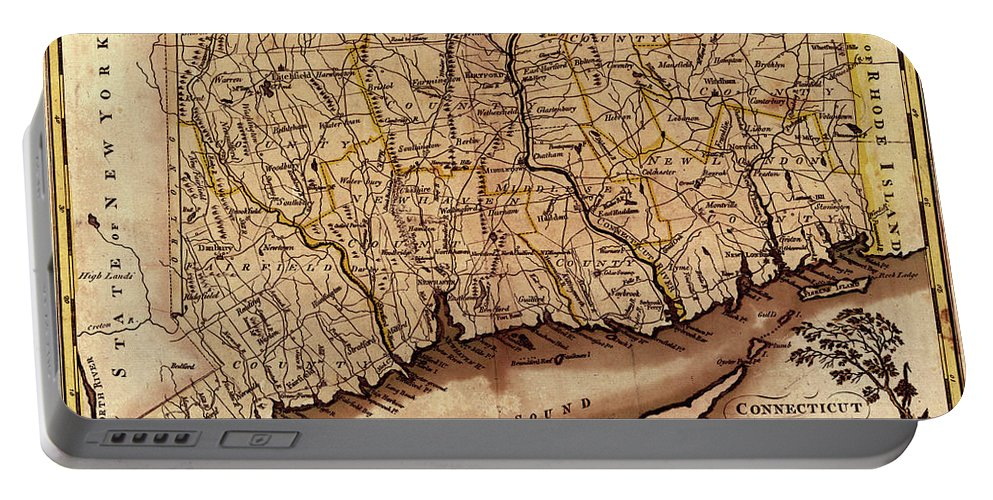Map Of Connecticut Portable Battery Charger featuring the photograph Map Of Connecticut 1795 by Andrew Fare