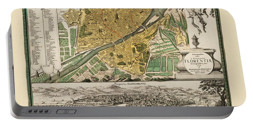 Map Of Florence Portable Battery Charger featuring the photograph Map Of Florence 1731 by Andrew Fare