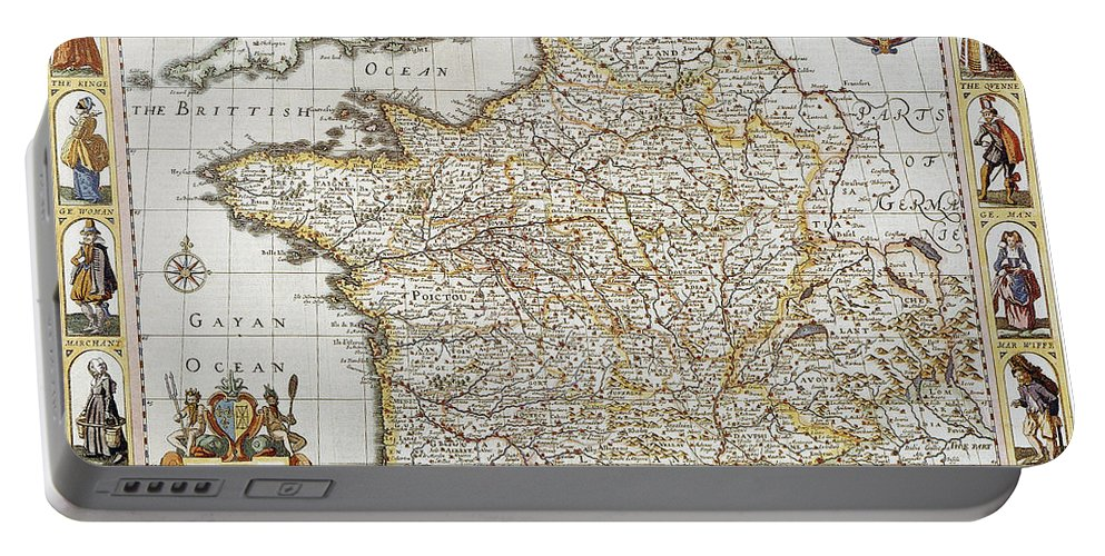 1627 Portable Battery Charger featuring the photograph Map Of France, 1627 by Granger