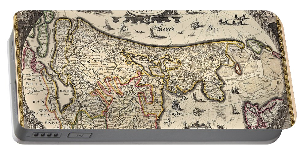 Holland Portable Battery Charger featuring the photograph Map Of Holland 1630 by Andrew Fare