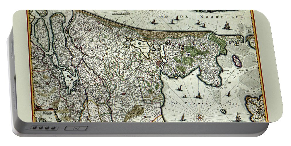 Holland Portable Battery Charger featuring the photograph Map Of Holland 1682 by Andrew Fare