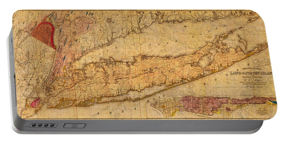 Map Portable Battery Charger featuring the mixed media Map Of Long Island New York State In 1842 On Worn Distressed Canvas by Design Turnpike