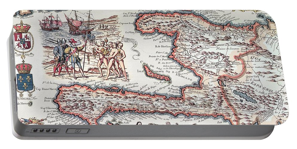 Maps Portable Battery Charger featuring the drawing Map Of The Island Of Haiti by French School